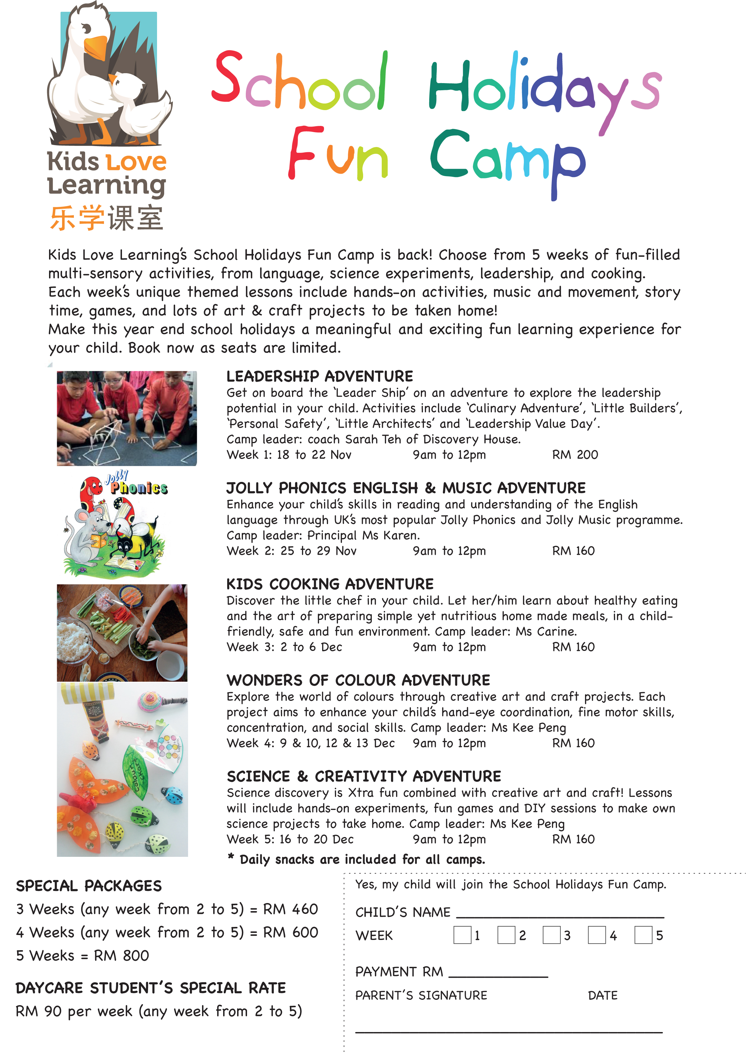 School Holidays Fun Camp is back at Kids Love Learning Kindergarten and Childcare Centre
